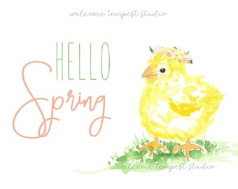 Spring Chick Printable, Hello Spring Instant Download