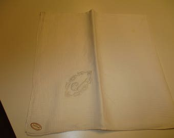 Vintage Madeira Embroidery Hand made pure linen cotton decorations J embroidered men's handkerchief hankie hanky unused