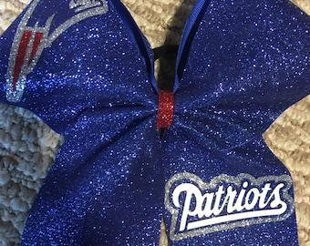 Patriots Cheer Bow-glitter Patriots Cheer Bow