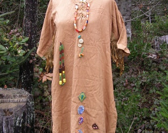 Vintage Campfire Girl Ceremonial Dress w/ Wood Beads, Patches & Leather Fringe