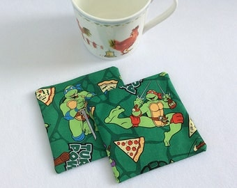 Fabric coasters mug rugs / cotton coasters / cotton mug rugs / Turtle coasters / animal coasters / childrens coasters / table mats