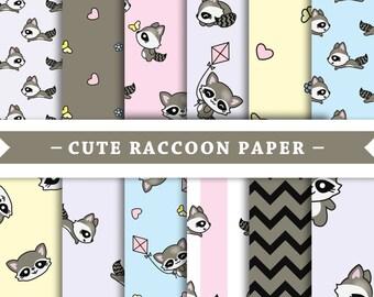 Premium Digital Paper - Scrapbooking Paper - Kawaii - Raccoon - Cute Raccoons - Patterns - Patterned Digital Paper - Printable Paper Set