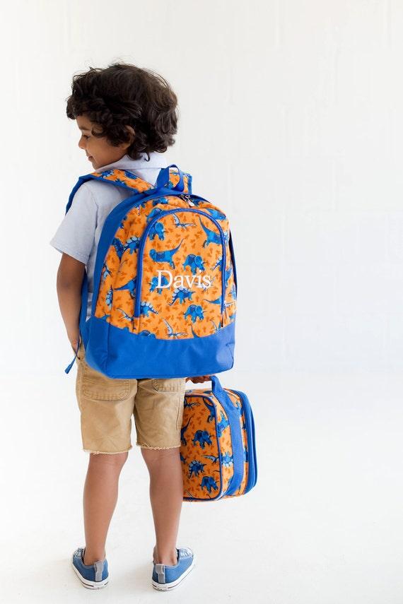 Back to School - Dino Preschool Sized Monogrammed Bookbag