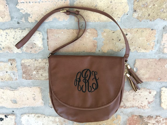 SALE - Tassel Crossbody Monogrammed Purse - Black or Camel