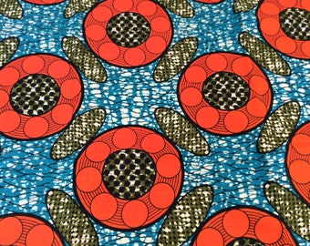 Fabric by the yard, Africa Fabric, Ankara, Designer Fabric, Blue, Orange and Olive Green