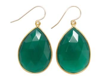 Emerald Green Quartz Earrings - Drop Earrings - Dangle Earrings - Gemstone Earrings - Gold Earrings