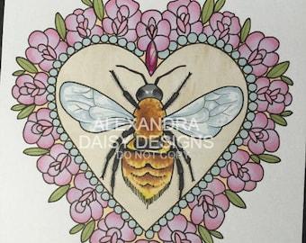 Original Bee Tattoo Design