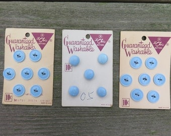 Vintage Button Card, Sewing Buttons, Replacement Buttons, Craft Supply, Retro, Collection, Antique, Le Chic, Blue