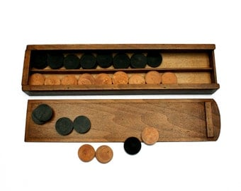 Very large French antique draughts wooden game pieces box, 40 wooden pieces in their original box, Wood board game, Vintage 1940s