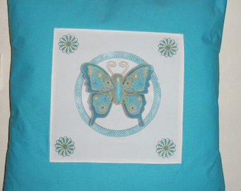 "Beautiful turquoise and gold Butterfly 100% cotton cushion cover, envelope cushion cover, to fit 20"" x 20""/50cm x 50cm cushion,accent pillow"