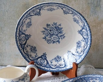 Round Serving Bowl, Kent Swinntertons LTD, Blue and White Transferware, Floral Serving Bowl, English,Made in England,Staffordshire