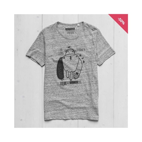 Man Graphic tee Organic Cotton Slub Heather Grey- Monkey Tattoo...