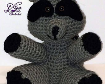 Gray & Black Crochet Raccoon, Stuffed Raccoon, Crochet Animal, Plush Raccoon, Stuffed Raccoon, Toy Raccoon, Crochet Raccoon