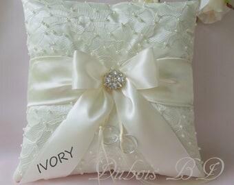 Wedding ring bearer pillow, Ivory ring bearer pillow, Beaded ring pillow, Ivory, White or gold ring pillow