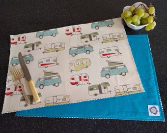 VW Fabric Placemat, RV Camping Table, Vanagons, Camper, VW Traveler, 5th Wheel, Jayco Pull Behind, Motorhome, Graduation Gift foundhermarble