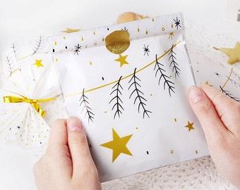 10 x Plastic cookie bags / twig / cookie envelope / transparent plastic bag / white plastic bag / cookie bag / cookie packaging /