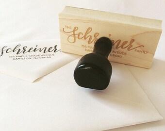 Custom Hand-Lettered Return Address Rubber Stamp (housewarming gift, stocking stuffer, etc!)