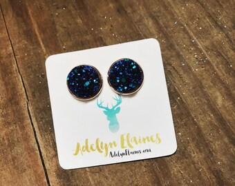 Dark Blue Druzy Earring Studs in 14 mm Rose Gold Setting // Druzy Studs
