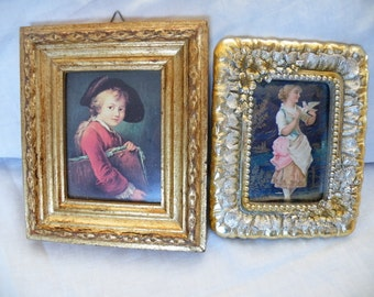 Vintage Picture Frames, Small Picture Frames, Desk Top Picture Frame, Wall Hung Frames