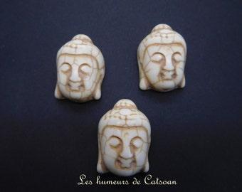 4 white howlite Buddha beads / 4 howlite white buddha beads