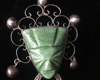 Aztec, Sterling Silver & Malachite Brooch