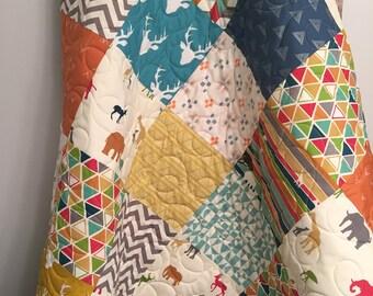 Safari baby quilt, gender neutral crib bedding, safari nursery, zoo animals, giraffe elephant antelope birds, red blue green orange yellow