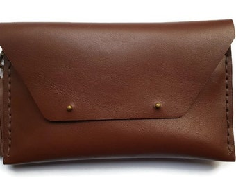 Leather clutch bag - chocolate brown