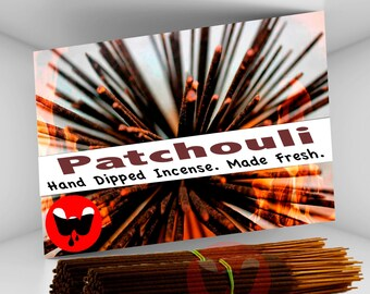 Incense - Patchouli, FREE SHIPPING, 100 Incense Sticks, Hand Dipped Incense, Made Fresh! ***Free Shipping in the U.S.***