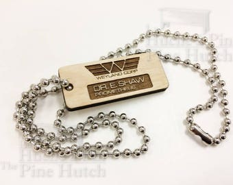 plate identification dog tag Dr. E. SHAW, inspired by the film Alien Covenant