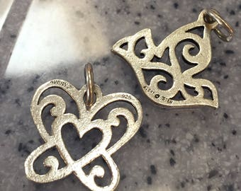 James Avery open heart butterfly and dove charms UNCUT! 925 Sterling Silver