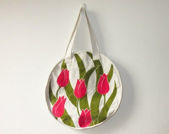 Vintage Floral Round Tote Canvas Purse Bag Tulips 80s Beach Bag Flowers Circular