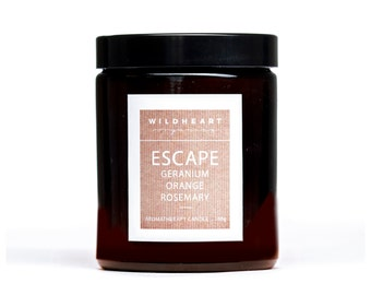 Soy Aromatherapy Candle - NYC Apothecary ESCAPE,  essential oils of Geranium, Rosemary & Orange