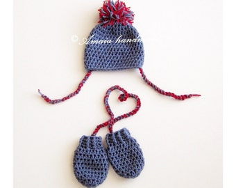 Baby hat and mittens, baby hat and gloves, pom pom hat and gloves, newborn hat and gloves, crochet baby set, crochet newborn set, winter set