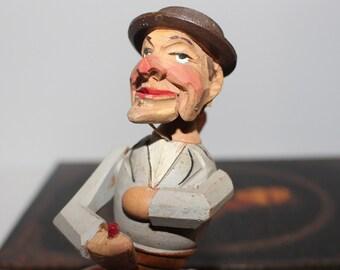 Vintage Mechanical  Carved Wood Drinking Man Bottle/Wine Stopper