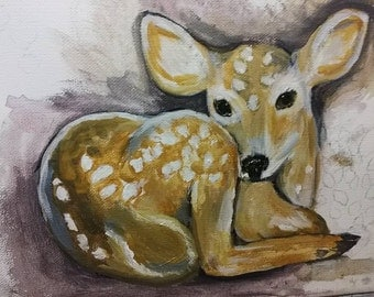 Fauna the Fawn painting Original artwork   8x10 coming soon - in progress