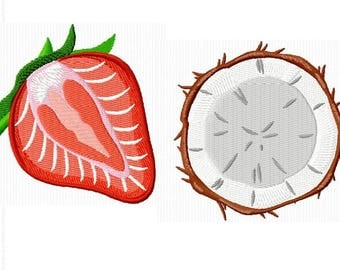 2 embroidery designs with a strawberry and a coconut for machine embroidery 4 x 4 format
