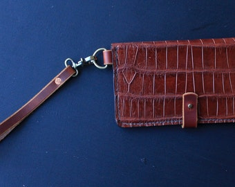 Alligator Leather Clutch// Florida Alligator Wallet// Women's Wristlet
