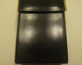 Vintage Black Leather Box  Cigarette Case, Business Card Case