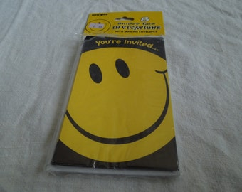 90s Smiley Face Party Invitations