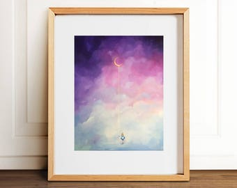 Moonshine Art Print- Wall Art- Gouache Watercolor Painting