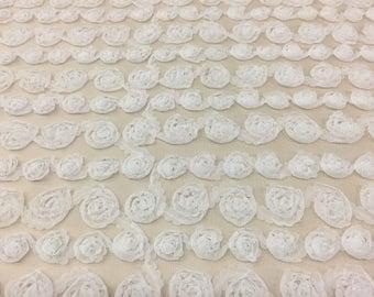 Mesh Baby Rosette White Fabric