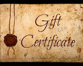 Gift Certificate / Gift for Him / Gift for Her / Special Occassion / Choice of Value / Perfect Gift