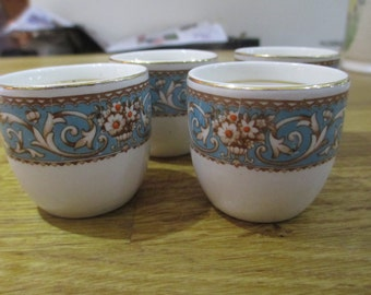 set of 4 hand painted egg cups, vintage egg cups ref 6