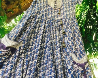 Vintage 70's gauze indian cotton dress