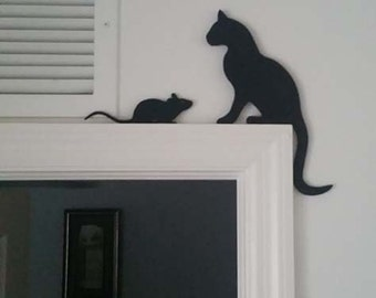 Cat & Mouse Silhouettes Door Topper 2-pieces