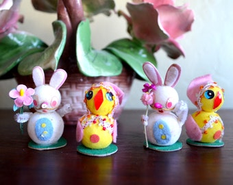 """Vintage Spun Cotton Easter Bunny and Chick Figures, Set of 4, Pipe Cleaner Arms, 2"""" Tall, Adorable, circa 1950s"""