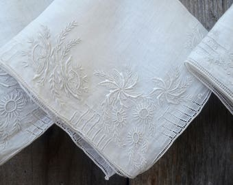 Set of 3 Vintage Chinese Handkerchiefs, Exquisite Embroidered, Drawn Work White Linen Hankies, Never Used, circa 1950s