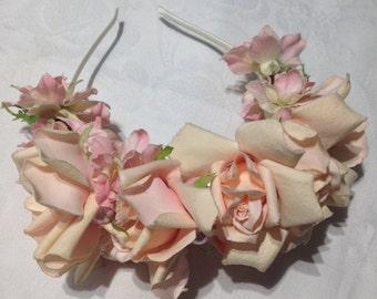Peach Roses Headband