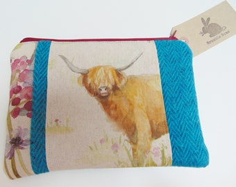 Handmade Highland Cow Makeup Bag, Voyage Highland Cattle, Hedgerow and Tweed Padded Pouch