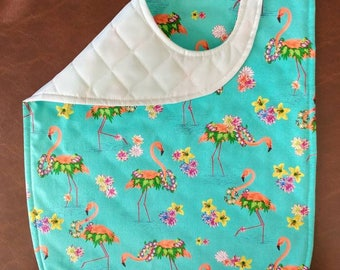 Adult/Teen Special Needs Bib in a Pink Flamingo Print